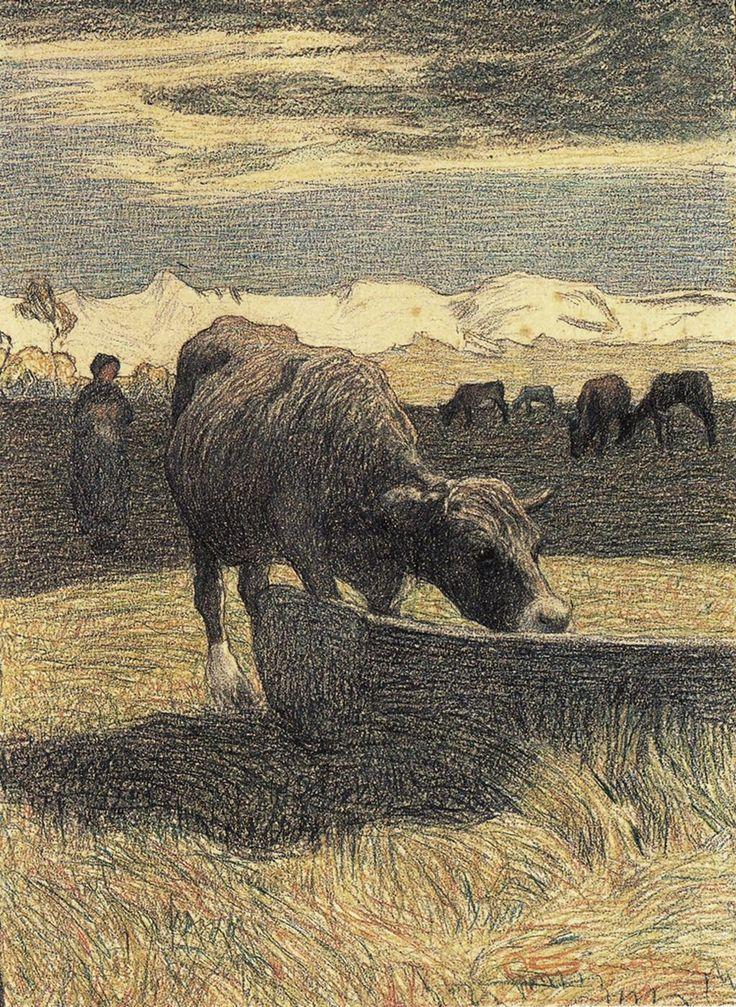 Giovanni Segantini「Vacca bruna all'abbeveratoio」(1891)