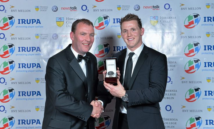 The VW Try of the Year was awarded to Ulster and Ireland winger Craig Gilroy for his try against Argentina.  Paul Burke of VW presents him with his Citizen Eco Drive watch courtesy of Field's Jewellers.