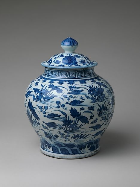 Jar with Ducks in Lotus Pond, Chinese, Ming dynasty (1308-1644), porcelain, painted with cobalt blue under transparent glaze. Jingdezhen ware, H. 16 in. (40.6cm.) Diam. 13 in. (33cm.)