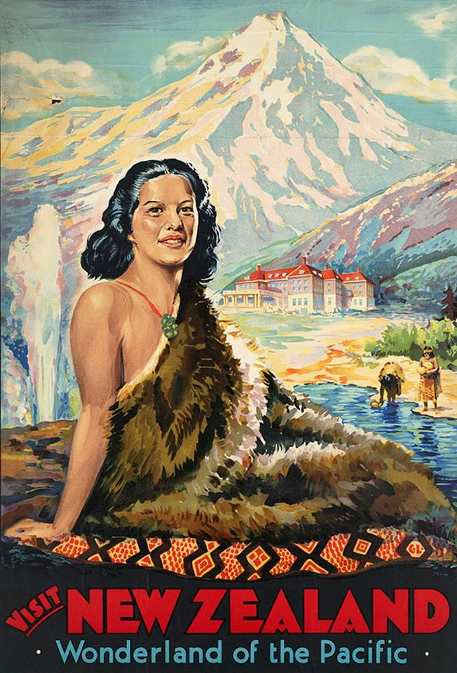 35 17 Visit New Zealand, Maori Wonderland, travel Poster, circa 1930s