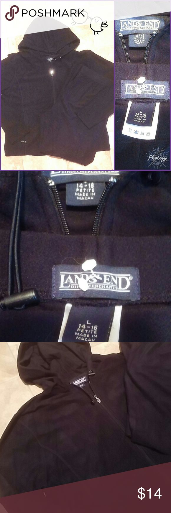 LAND'S END 14-16 Petite Knit Jacket & Pants Brand:  Lands End  Item: *Beautiful Black with an Almost Velour Feel to Each Piece  *Small Amount of Pilling at the Crotch. *There is a toggle cord in the hood. *Zip up pocket on both sides for your hands, phone, keys,etc. *84% Nylon, 16% Lycra/Spande *Both Pieces are Size Womens Large 14/16 Petite *The pictures are a bit hard to make out but this outfit is dark black with no fade.   *Such a Great Add on To Your Purchase Without Having to Pay Extra…