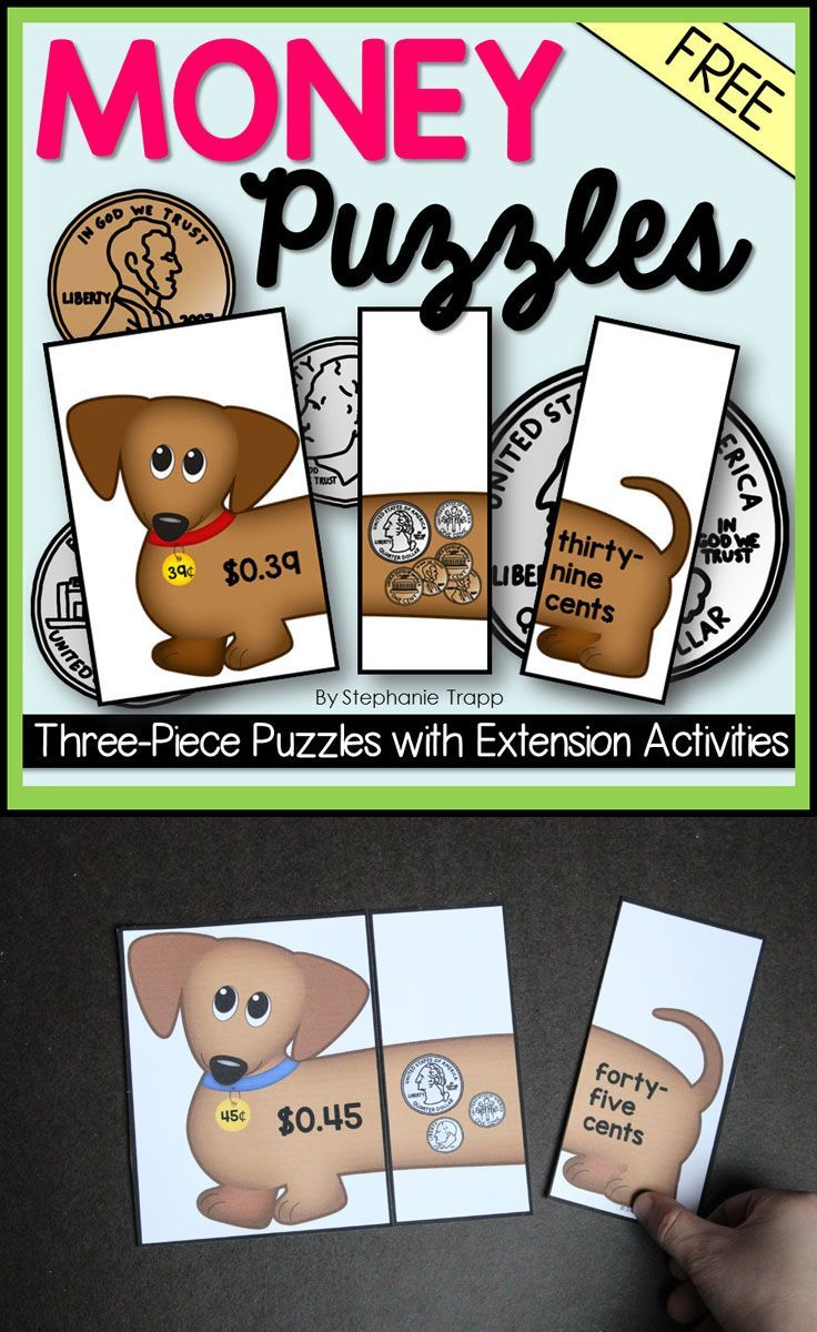 Ten FREE 3-piece money puzzles with two extension activities. Students match the amount in numbers, coins, and words. Perfect for math centers!