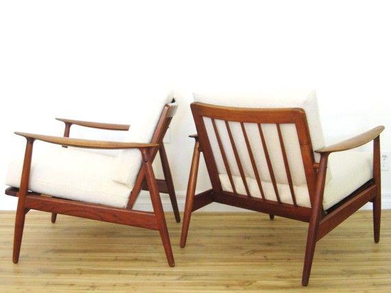 Danish Modern chairs - cream and teak