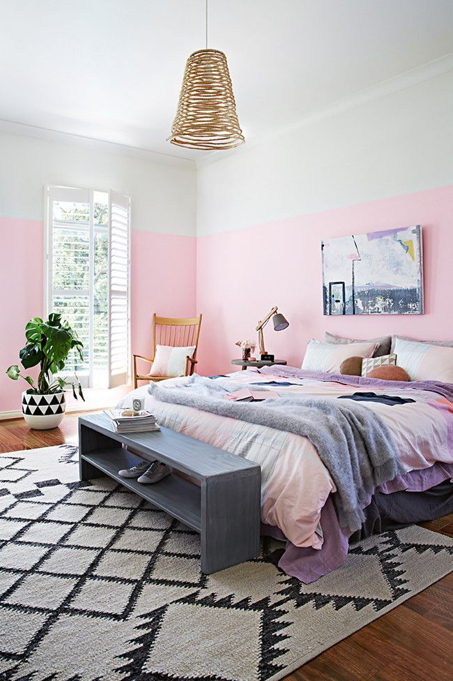 Three quarter painted wall in ballet pink topped in soft white. Photo, Armelle Habib. Styling, Julia Green. Get this Look: Little Bow Pink, Song Porcelain. CIL paints.