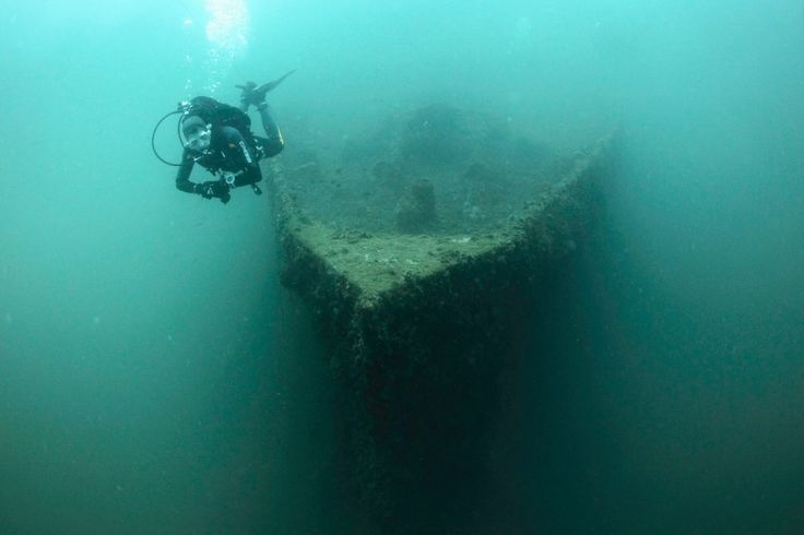 A diver swims near the bow of the wreck of the Baron Gautsch ship, near the Adriatic town of Rovinj