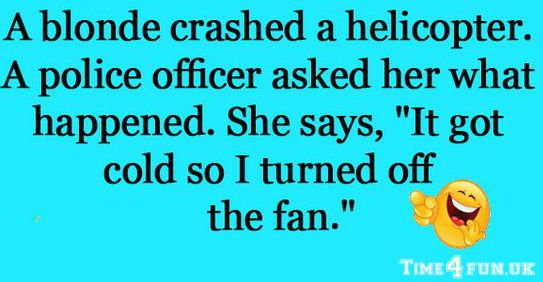 When you have a blonde flying a helicopter and crashing it you can expect receiving this kind of ans...