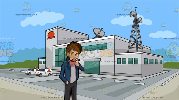 A Bearded Man Smoking A Cigarette At Outside A Tv Station :  A man with brownish red hair mustache and beard wearing a white shirt under a blue jacket gray pants and black shoes smokes a cigarette on his left hand. Set in a building with light gray exterior walls a huge parking area antennas and satellites green glass windows and a red logo situated on an open area and surrounded by green trees in the background with blue sky.