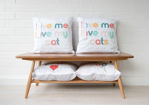This listing is for an original LEAPUP design cushion cover Made with Woof by British designer Leanne Warren. The Love me, love my cat design is the perfect decor for cat lovers and would make a great addition to any modern home or contemporary living space. (If you have more