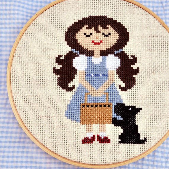 Dorothy and Toto, Wizard of Oz counted cross stitch pattern Download, sent by email