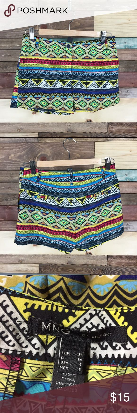 "MNG Bright Tribal Shorts - 4 MNG Bright Tribal Shorts - 4  Waist (laying flat): 14.5"" Rise: 9"" Inseam: 3""  #woodsnap #mng #tribal #bright #multicolor #shorts Mango Shorts"