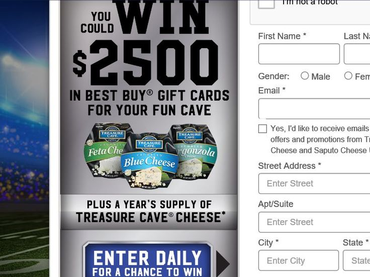 """Enter The Saputo Cheese USA Inc. Treasure Cave Cheese """"Big Game Squares"""" Sweepstakes for the chance to win two $1,250 Best Buy Gift Cards, and a Year supply of Treasure Cave Cheese!"""
