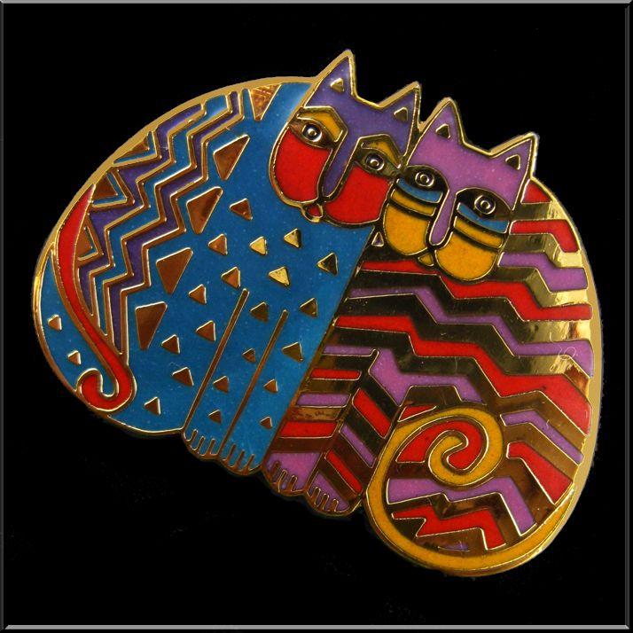 """Folkloric Felines"" Brooch/Pin by Laurel Burch"