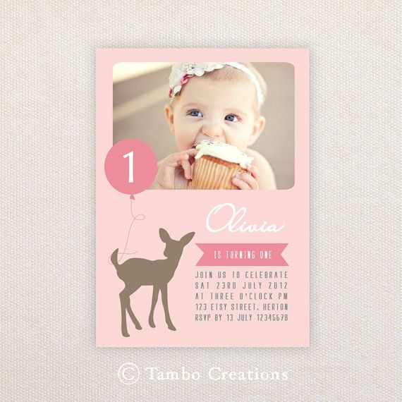 Hey, I found this really awesome Etsy listing at https://www.etsy.com/listing/101690924/girls-birthday-party-invitations-deer