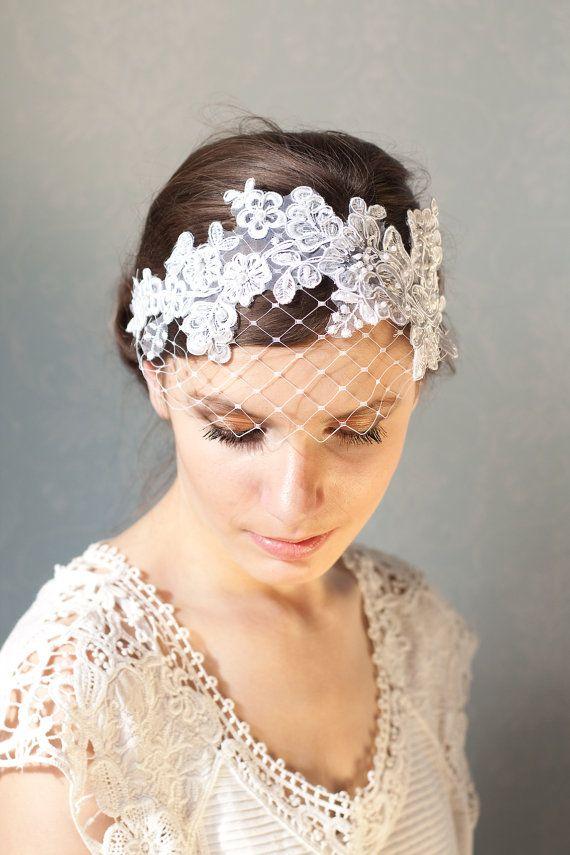 Bridal white lace headband with french veiling, wedding headpiece, elastic