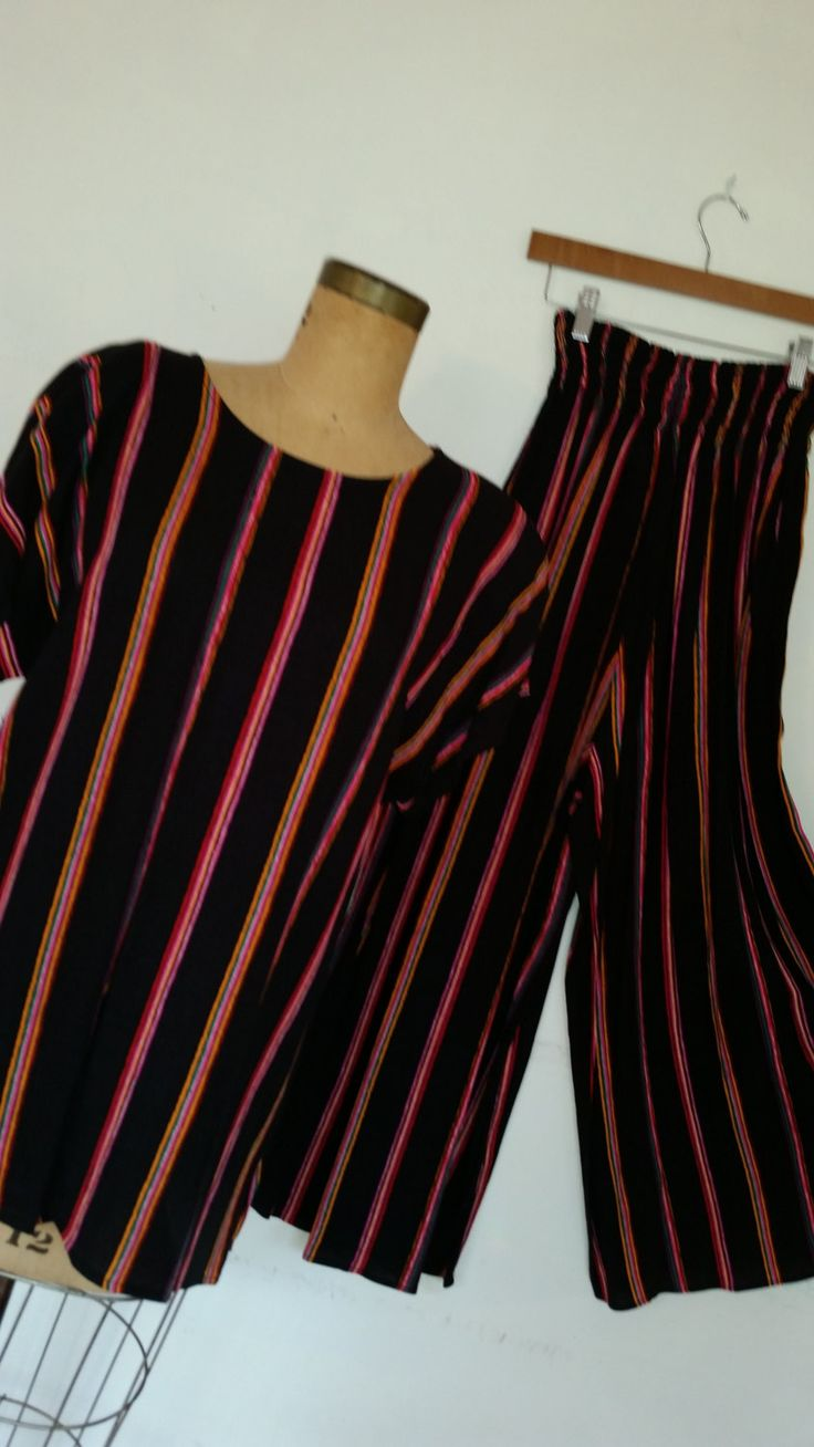 80s Carol Little Resort Wear Oversize Gauzy Stripe Slouchy Top and Wide Leg Palazzo Pants Boho Summer Pant Suit 80s Wide Leg Pants Size S/M by ZoomVintage on Etsy