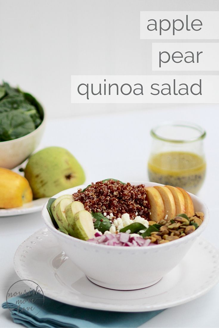 simple apple, pear, quinoa salad + lemon poppyseed dressing | freshen up lunchtime with this delicious and simple quinoa and spinach salad with apples, pears, pistachios, and topped with a homemade lemon poppyseed vinaigrette. | www.nourishmovelove.com #healthyrecipes