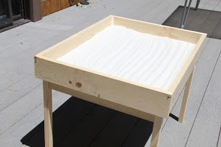 Hacked Ikea table with chairs $20!!   Pencilick: Sand Table - DIY