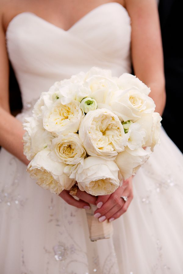 beautiful all white bouquet of garden roses