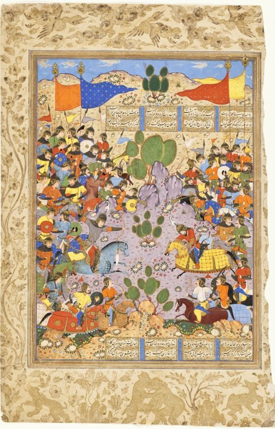 The Battle between Bahram Chubina and Sava Shah, Page from a Manuscript of the Shahnama (Book of Kings) of Firdawsi Iran, Shiraz, circa 1560 Opaque watercolor heightened with gold and silver on paper Mat: 30 1/4 x 22 1/4 in. (76.835 x 56.515 cm); 16 11/16 x 10 5/8 in. (42.42 x 26.92 cm) LACMA Collections
