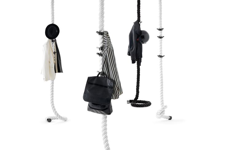 #LaCima wall or ceiling-mounted #clothes #hanger in plaited  #nautical #rope , an almost ready-made piece.