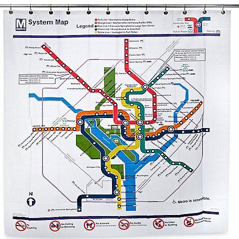 Washington Dc Transit Map Peva 72 Inch X 72 Inch Shower