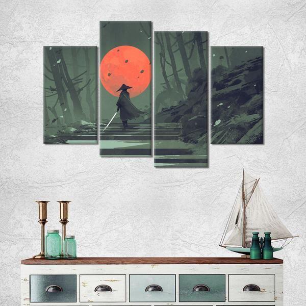 Samurai Voyage Multi Panel Canvas Wall Art Canvas Wall Art Wall Canvas Living Room Canvas Prints