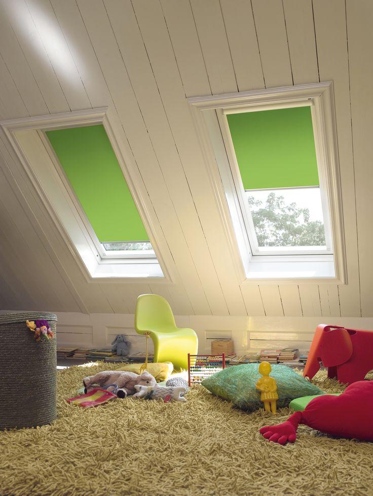 Luxaflex® Skylight Roller Blinds - apple green #Luxaflex # loftwindow #blinds #green www.luxaflex.co.uk/products/indoor/roller-blinds/