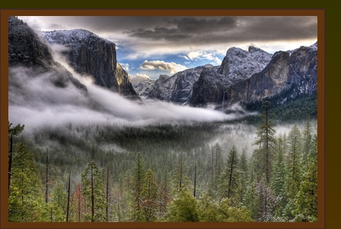 Check out the Redwoods for your next quilting/scrapbooking retreat in Yosemite National Park --we request 44R: Photography App, Beautiful Valley, Winter Sunri, California Travel, Yosemite National Parks, Winter Mornings, Enhancer Photos, Granite Wall, Cold Winter