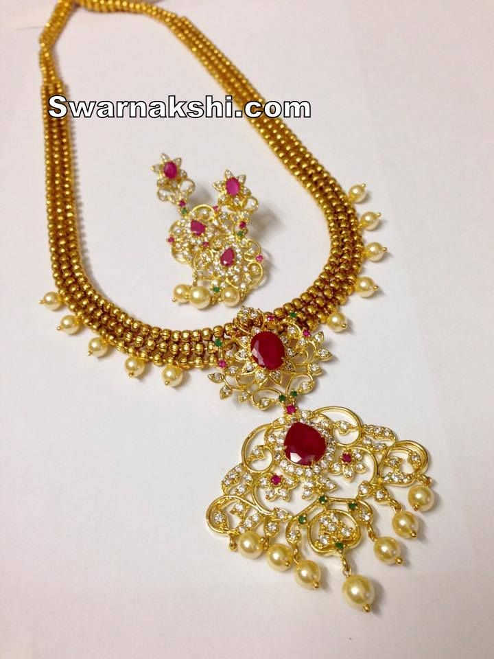 cz long necklace... Inbox us or whatsapp to 09581193795 to buy online  Or visit our showroom at LIG block no 11, F. No 9, 3rd Phase, KPHB, Kukatpally, Hyderabad  For more collections visit http://swarnakshi.com/product-categ…/necklace/long-necklace/