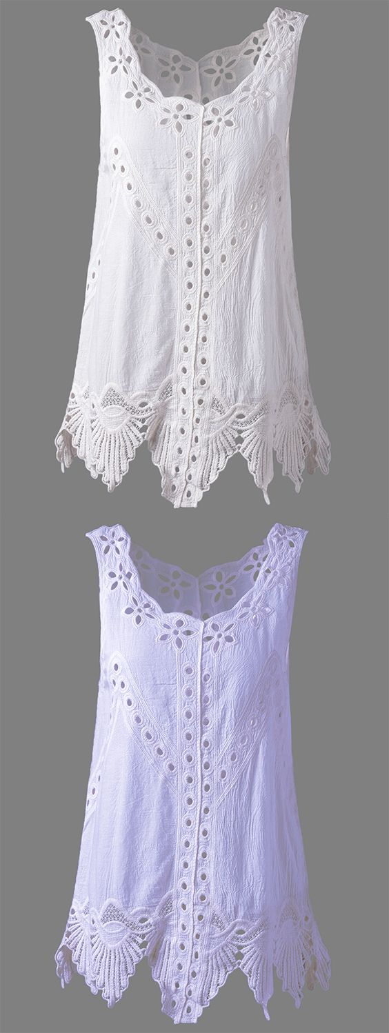 Bohemian Women's Scoop Neck Solid Color Crochet Sleeveless Blouse