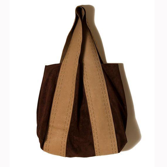 Winter bags Suede and leather bag Brown suede by ElenaVandelliBags