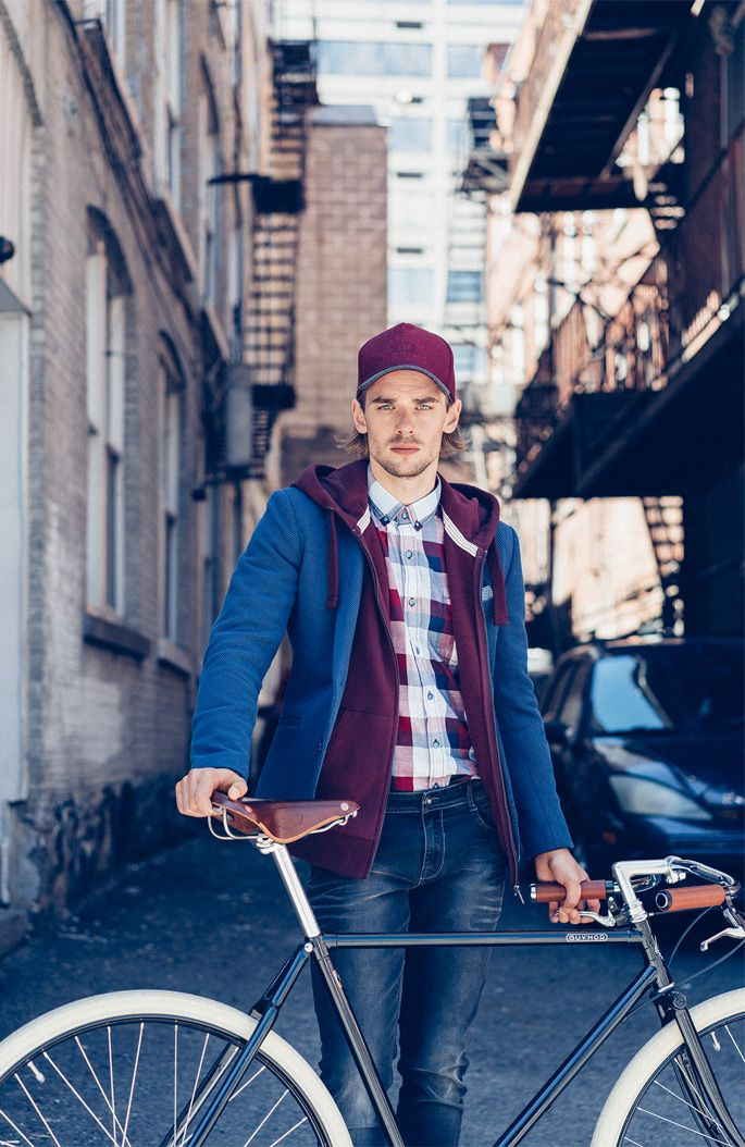 Autumn Collection Man AW16 #blue#jacket#denim#casual#look#bike#in#the#city
