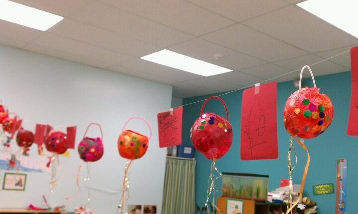 Chinese New Year preschool lanterns. (Tissue paper mache)