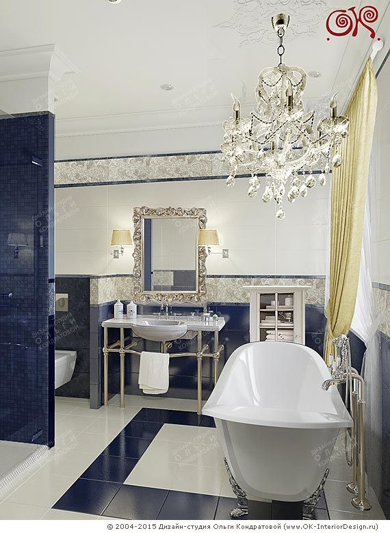 Интерьер сине-белой ванной комнаты в классическом стиле http://www.ok-interiordesign.ru/blog/ehlegantnaya-klassika-v-dizayne-vannoy-komnaty.html