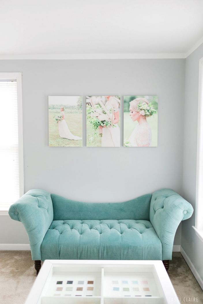 Turquoise tufted loveseat from Target. Table from Ikea. Home inpiration - Photo & Design by www.cassiclaire.com