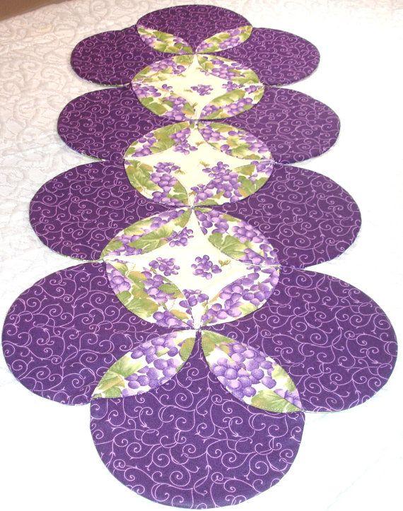 Table Runner Quilt Table Topper Centerpiece Grape @KeriQuilts
