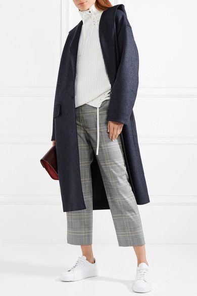 Harris Wharf London - Hooded Wool-felt Coat - Midnight blue