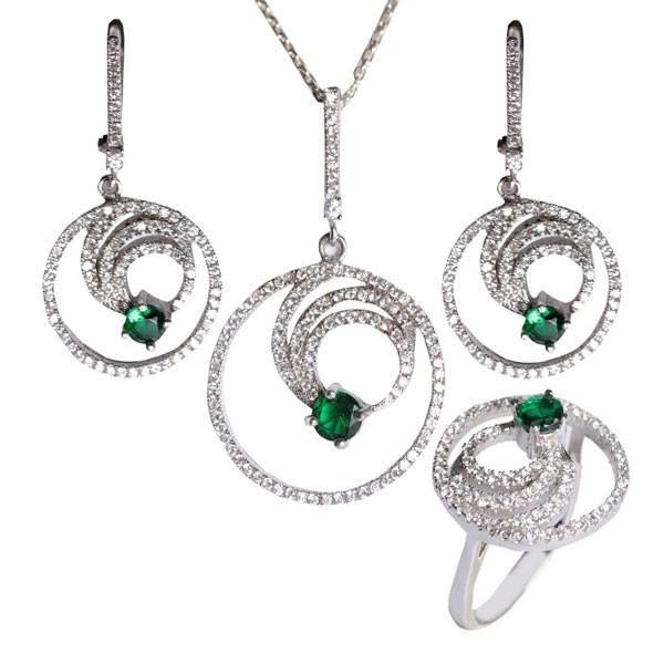 İç içe halka figürlü, yeşil ve zirkon taşlarla işlemeli, muhteşem gümüş bayan set