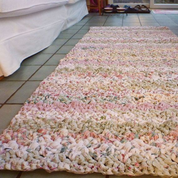 """Example rug was made from over 12 repurposed, freshly laundered bed sheets; finished product measures a generous 30"""" wide by 6 feet long"""