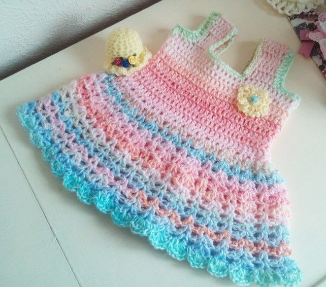 Babies Soft pastel Colour Dress Crochet New Born Handmade Frock Pink Yellow  £12.95