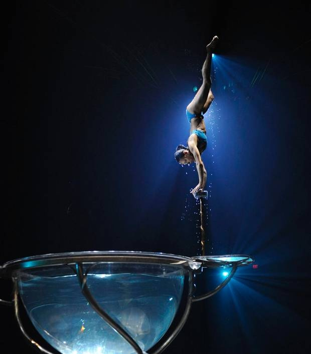 Performer Luliia Mykhailova rehearses the Water Bowl act during a preview of Cirque du Soleil's latest show, Amaluna.