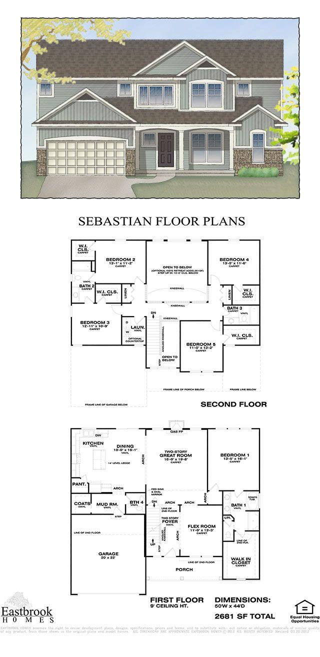 Sebastian Floor Plan by Eastbrook Homes Square Footage: 2681 Floors: 2 Bedrooms: 5 Bathrooms: 3.5 Master Suite: first floor Laundry: second floor