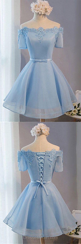 Off the Shoulder Prom Dress, Short Sleeve Prom Dresses, Organza Homecoming Dress, Satin Homecoming Dresses, Light Sky Blue Cocktail Dresses