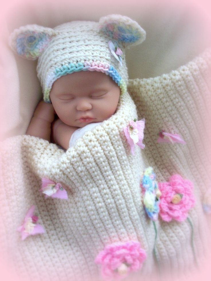 Blooming baby girl blanket and bear hat set bb for Baby bureau bilingue 2 en 1