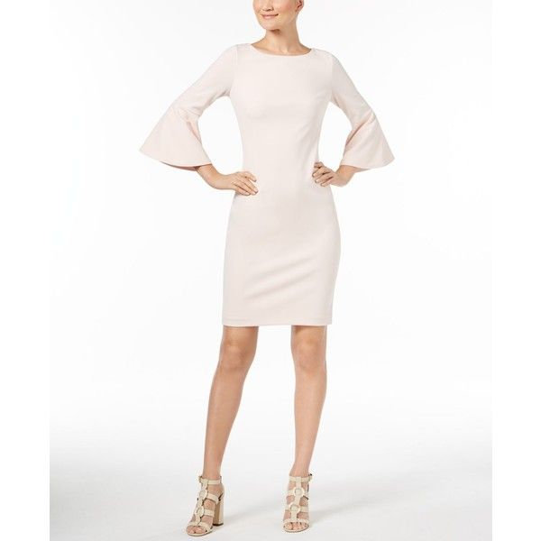 Calvin Klein Bell Sleeve Sheath Dress 90 Liked On Polyvore Featuring Dresses Blossom Sheath Bell Sleeve Dress Outfit Red Sheath Dress White Sheath Dress