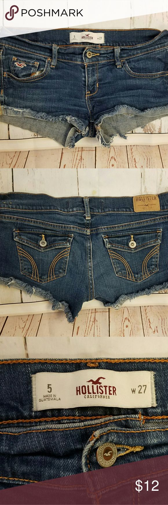 Hollister size 5 denim jeans shorts distressed For sale or a pre-owned pair of Hollister denim shorts size 5 waist 27. In good condition with no stains. Thanks for looking. Feel free to make an offer or a bundle, items ship within 1 business day. Bin D. Hollister Shorts Jean Shorts