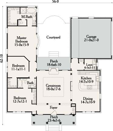 Not too sure of losing so much space for the long foyer.  Flip plan, add third car garage and a large room between garage and laundry room for the Gunroom.