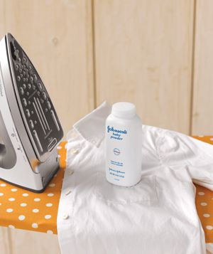 Sprinkle a little on the shirt's underarms and collar, then iron to prevent sweat stains on white shirts. The powder forms a barrier that keeps oil and grime from seeping into the threads.(This is a must try)