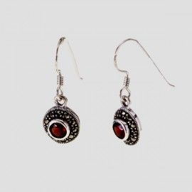 Round Garnets with Marcasites Danglies. #earrings #semi-precious #jewelry #vintage