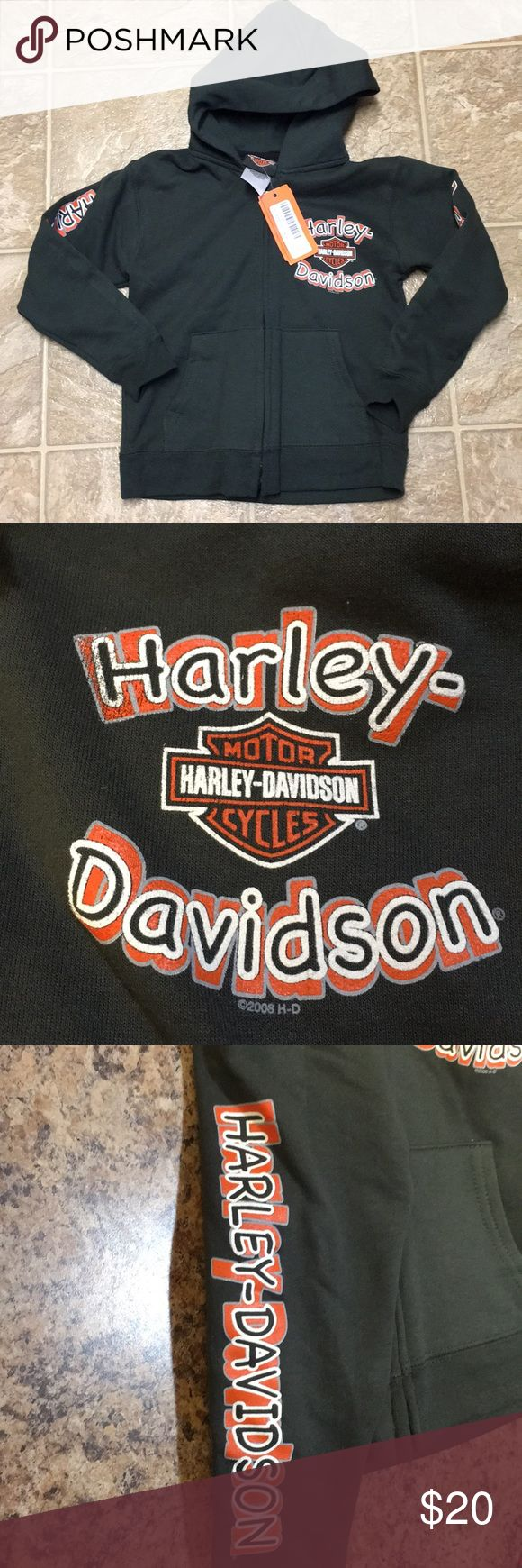 NWT Harley-Davidson Sweatshirt Gray full zip sweatshirt with graphic designs on chest and both arms. New with tags Harley-Davidson Shirts & Tops Sweatshirts & Hoodies